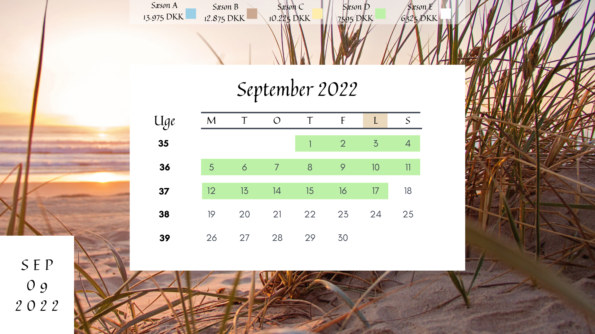 Kalender - Sommerhus på Fyn